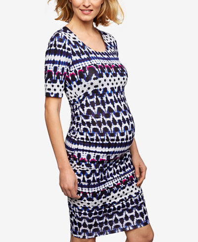 A Pea In The Pod Maternity Printed Ruched Dress