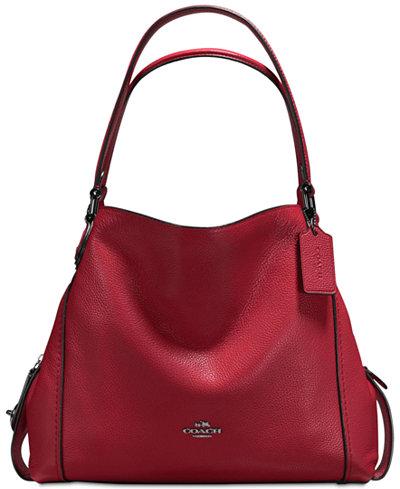 COACH Edie Shoulder Bag 31 in Polished Pebble Leather - Handbags ...