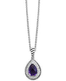 EFFY® Amethyst (1-3/4 ct. t.w.) & White Sapphire (1/3 ct. t.w.) Teardrop Pendant Necklace in Sterling Silver
