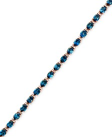 EFFY® London Blue Topaz (13-1/3 ct. t.w.) & Diamond (1/6 ct. t.w.) Tennis Bracelet in 14k Rose Gold