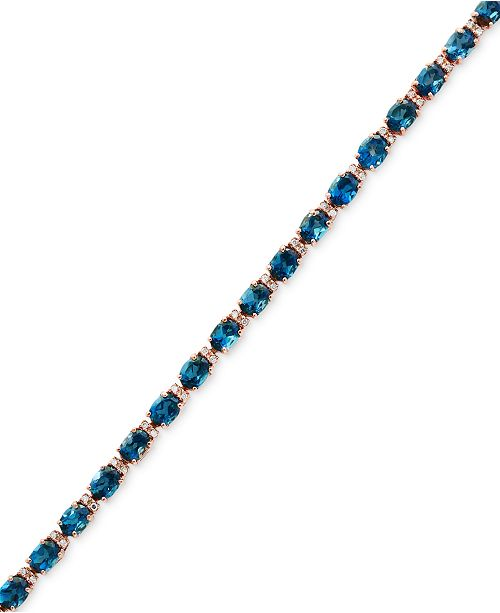 EFFY Collection EFFY® London Blue Topaz (13-1/3 ct. t.w.) & Diamond (1/6 ct. t.w.) Tennis Bracelet in 14k Rose Gold