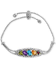 EFFY® Multi-Gemstone Bolo Bracelet (4-7/8 ct. t.w.) in Sterling Silver & 18k Gold
