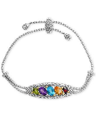 Effy 174 Multi Gemstone Bolo Bracelet 4 7 8 Ct T W In
