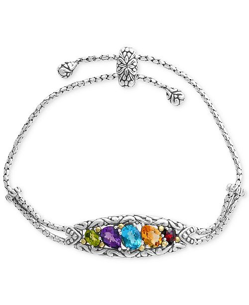 EFFY Collection EFFY® Multi-Gemstone Bolo Bracelet (4-7/8 ct. t.w.) in Sterling Silver & 18k Gold