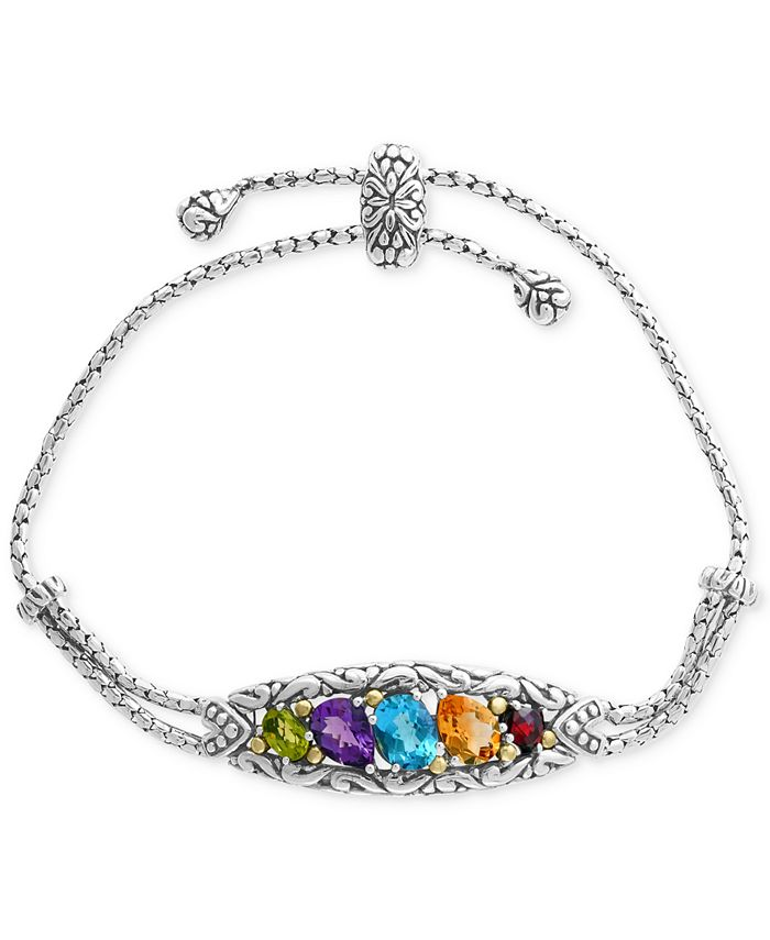 EFFY Collection - Multi-Gemstone Bolo Bracelet (4-7/8 ct. t.w.) in Sterling Silver & 18k Gold