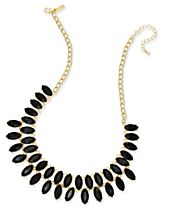 INC International Concepts Gold-Tone Double Row Marquise Stone Statement Necklace, Created for Macy's
