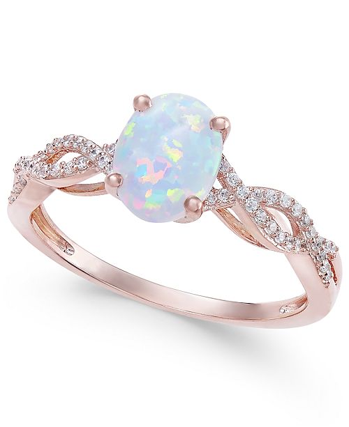 Macy's Opal (3/4 ct. t.w.) & Diamond (1/8 ct. t.w.) Ring in 14k Rose Gold