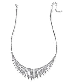 I.N.C. Silver-Tone Pavé Statement Necklace, Created for Macy's