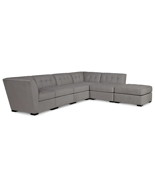 Pleasing Roxanne Ii Performance Fabric 6 Pc Modular Sofa With Ottoman Created For Macys Machost Co Dining Chair Design Ideas Machostcouk