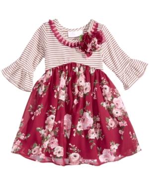 Bonnie Baby FloralPrint Striped Dress Baby Girls (024 months)