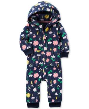 Carters Hooded FloralPrint Coverall Baby Girls (024 months)