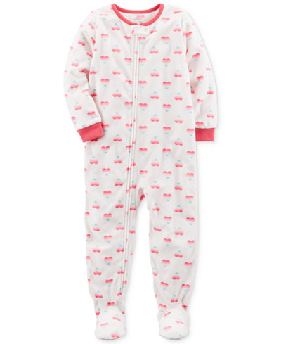 Carter's 1-Pc. Heart-Print Footed Pajamas, Baby Girls