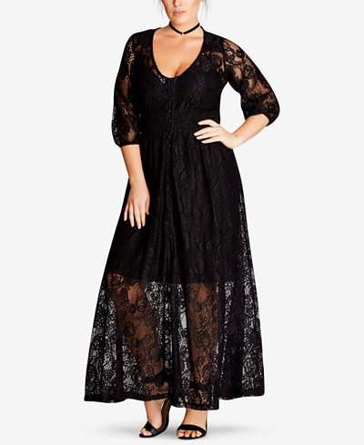 City Chic Trendy Plus Size Lace-Overlay Maxi Dress