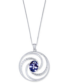 Tanzanite (2-1/2 ct. t.w.) & Diamond Accent Pendant Necklace in 14k White Gold