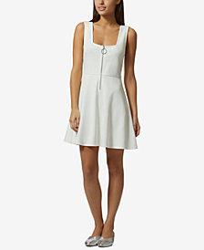 Avec Les Filles Zip-Front Fit & Flare Dress