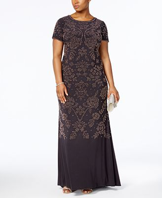 Betsy & Adam Plus Size Beaded Scoop-Back Gown