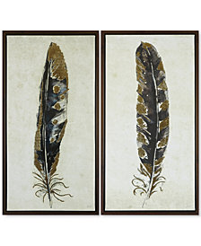Urban Habitat Gilded Feathers 2-Pc. Foil-Embellished Canvas Print Set