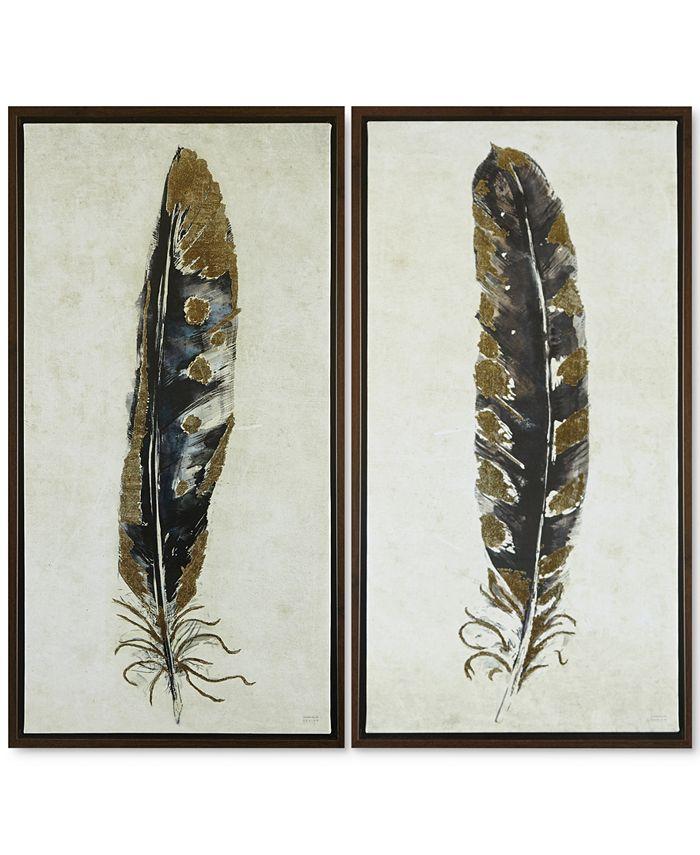 JLA Home - Gilded Feathers 2-Pc. Foil-Embellished Canvas Print Set