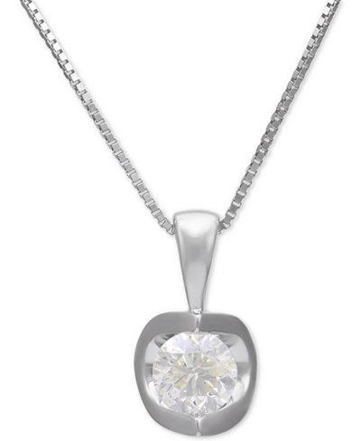 Diamond Pendant Necklace (3/8 ct. t.w.) in 14k White Gold