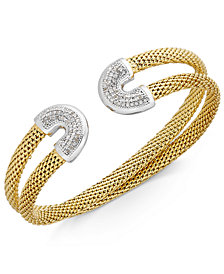 Diamond Horseshoe Double Mesh Cuff Bracelet (1/2 ct. t.w.) in 14k Gold-Plated Sterling Silver