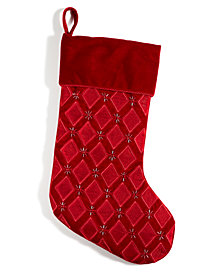 Holiday Lane Red Velvet Stocking, Created for Macy's