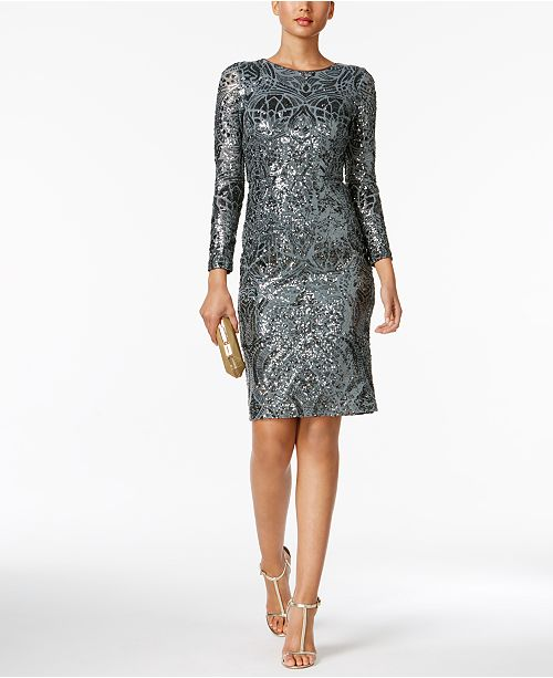 Betsy & Adam Petite Sequined Sheath Dress