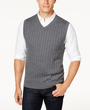 Men's Vintage Style Sweaters – 1920s to 1960s Club Room Mens Cable-Knit Cotton Sweater Vest Created for Macys $49.50 AT vintagedancer.com