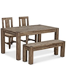 "Canyon Small 4-Pc. Dining Set, (60"" Dining Table, 2 Side Chairs & Bench), Created for Macy's"