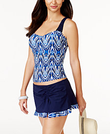 Profile by Gottex Java Printed D-Cup Underwire Macrame Strap Tankini Top & Swim Skirt