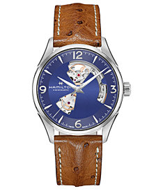 Hamilton Men's Swiss Automatic Jazzmaster Brown Leather Strap Watch 42mm