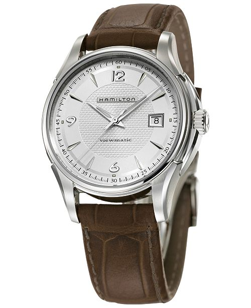 c5de97463cb ... Hamilton Men s Swiss Automatic Jazzmaster Viewmatic Brown Leather Strap  Watch 40mm H32515555 ...