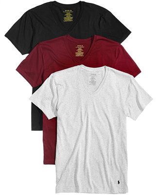 Polo ralph lauren men 39 s 3 pk cotton v neck t shirts for Polo shirt with undershirt