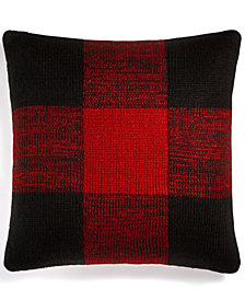 "CLOSEOUT! Martha Stewart Collection Buffalo Check 20"" Square Decorative Pillow, Created for Macy's"