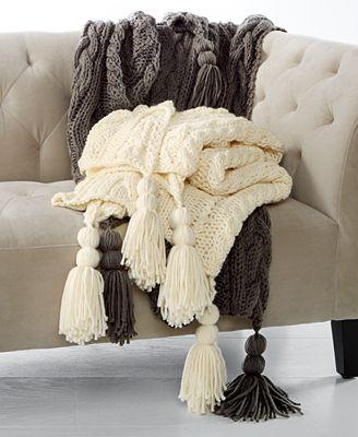 CLOSEOUT! Martha Stewart Collection Luxury Handknit Tassel Throw, Created for Macy's
