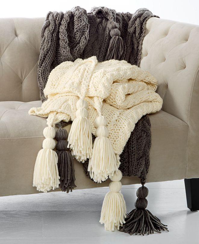 Martha Stewart Collection CLOSEOUT! Luxury Handknit Tassel Throw, Created for Macy's