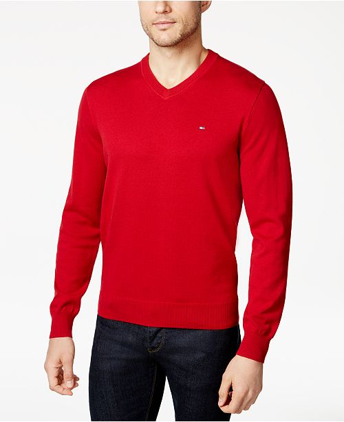 Tommy Hilfiger Mens Signature Solid V Neck Sweater Created For