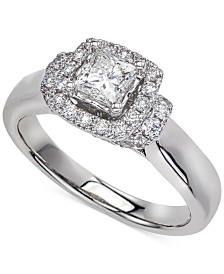 Diamond Princess Cut Halo Engagement Ring (1 ct. t.w.) in 14k White Gold