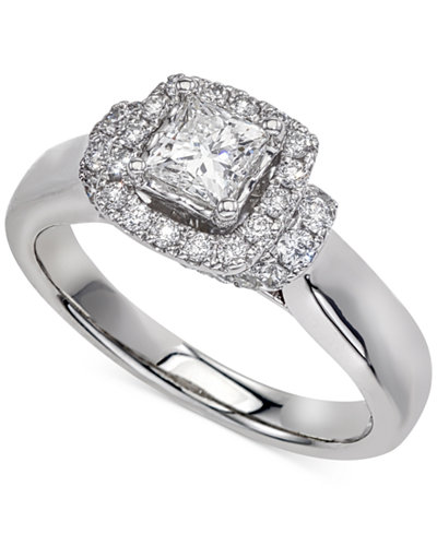 Diamond Square Halo Engagement Ring (1 ct. t.w.) in 14k White Gold