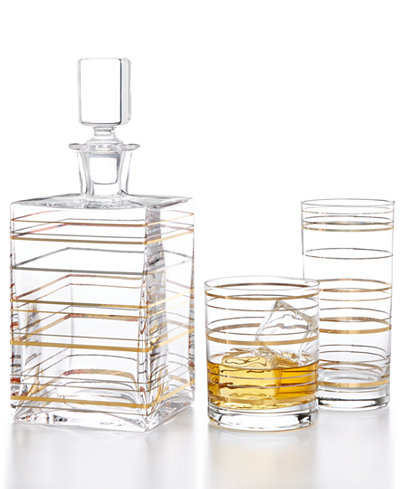 CLOSEOUT! Martha Stewart Collection Glass Barware with a Twist, Created For Macy's