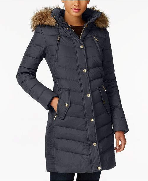 Michael Kors Faux Fur Trim Down Coat Created For Macy S