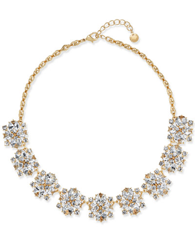 Charter Club Gold-Tone Crystal Cluster Statement Necklace, Created for Macy's