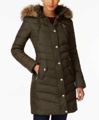 MICHAEL Michael Kors Plus Size Faux-Fur-Trim Down Coat, Created ...