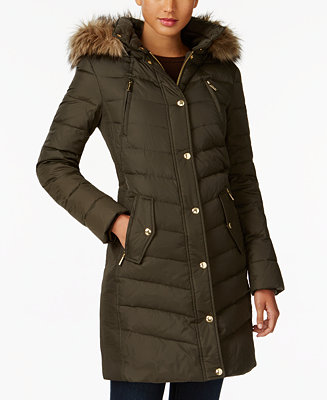 Michael Kors Faux Fur Trim Hooded Puffer Coat Created For