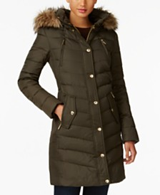 Michael Michael Kors Petite Faux-Fur-Trim Hooded Down Coat, Created For Macy's