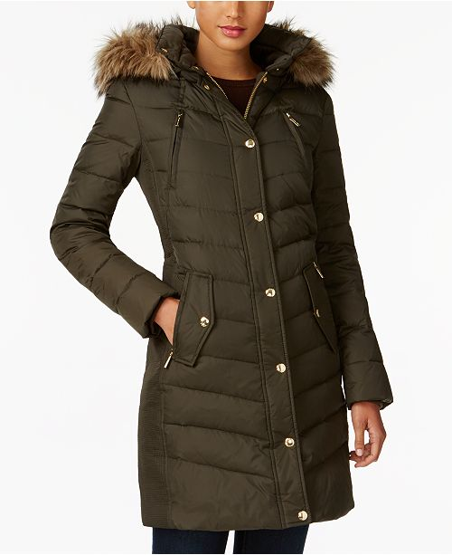 90e9135ef91 Michael Kors Faux-Fur-Trim Down Coat