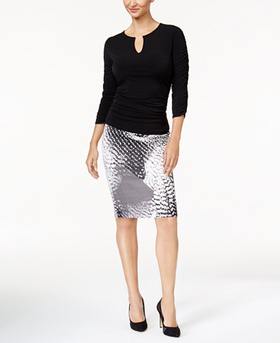 Thalia Sodi Ruched Top & Pencil Skirt, Created for Macy's