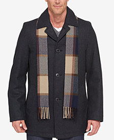 Tommy Hilfiger Melton Wool Walking Coat with Scarf