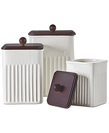 3-Pc. Ceramic & Wood Canister Set, Created for Macy's,