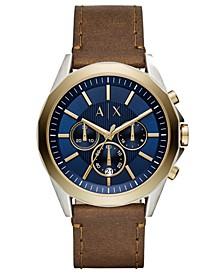 Men's Chronograph Drexler Brown Leather Strap Watch 46mm