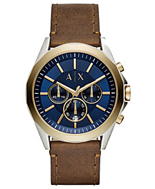 A|X Armani Exchange Men's Chronograph Drexler Brown Leather Strap Watch 46mm